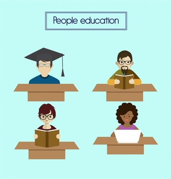 education icons design various people studying style
