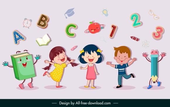 education icons joyful kids studying elements sketch