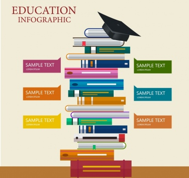 education infographic book stack icon decoration