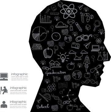 education infographic human head silhouette design