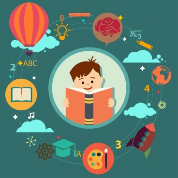 education inforgraphic circle layout colored cartoon kid icon