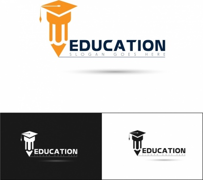education logotypes silhouettes design pencil hat icons ornament