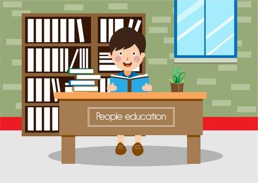 education theme design boy reading book illustration