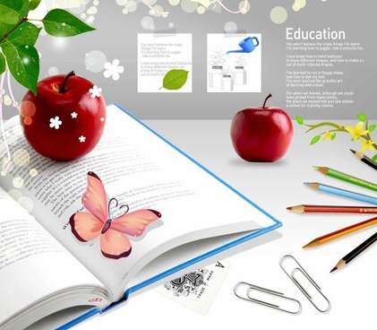 education theme still life psd layered 1