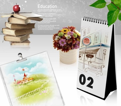 education theme still life psd layered 5