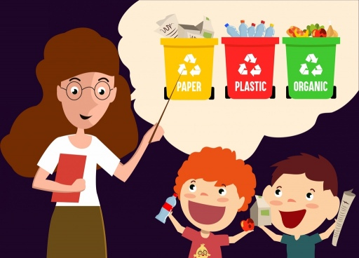 education theme teacher pupils plastic dustbin icons