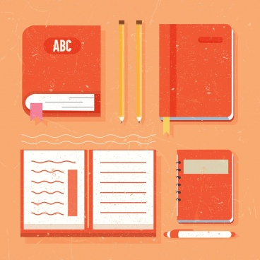 education tools design elements notebooks pen pencils icons