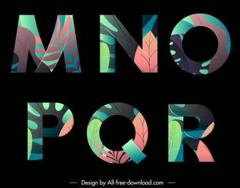educational alphabet icons dark decor colorful leaves sketch