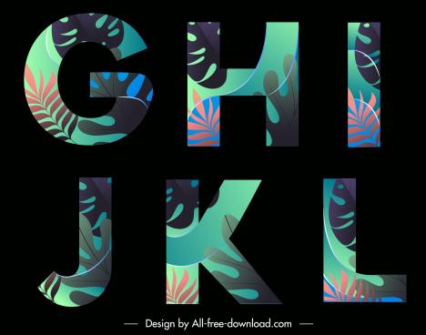 educational alphabet icons leaves decor colorful dark