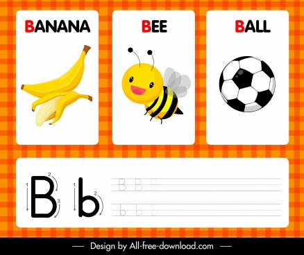 educational alphabet template bright colored decor