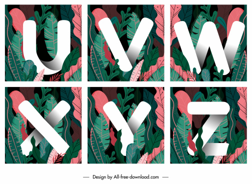 educational alphabets templates colorful tropical leaves decor
