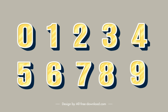 educational numbers background template flat yellow design