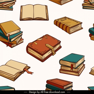 educational pattern template books sketch retro 3d