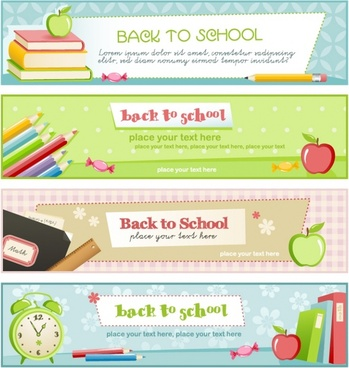 educational theme banner design template vector