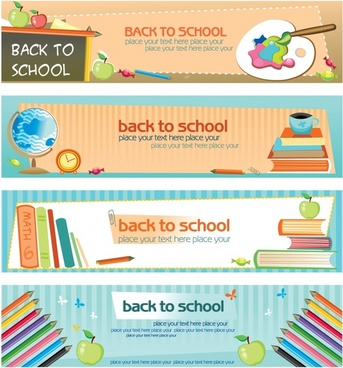 back to school banners templates colorful educational elements