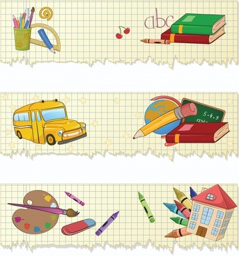 educational theme banner vector illustration style