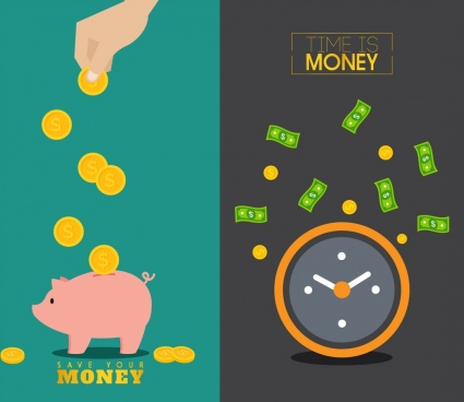 effective business concept money pig clock time icon