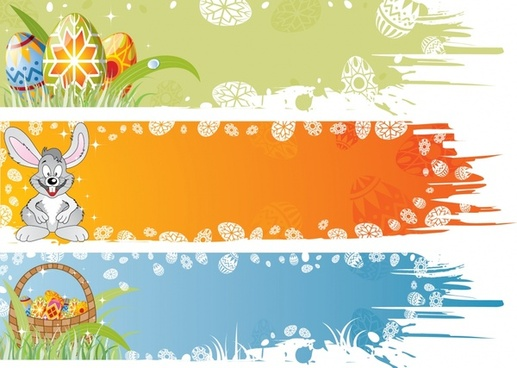 easter background sets eggs rabbit snowflakes icons decor