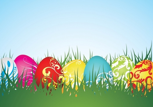 easter background colorful modern eggs grass decor