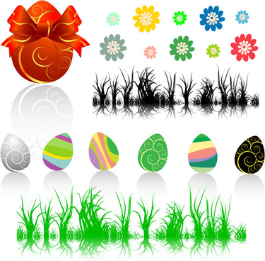eggs flowers and grass