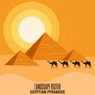 egypt advertising banner pyramid camel sun desert icons