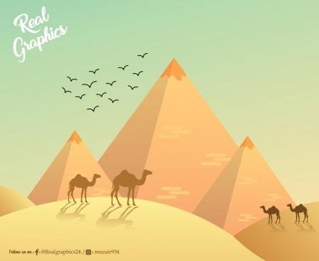 egypt scene hills camels and eagles