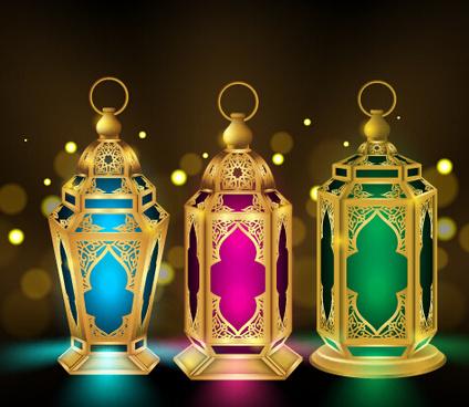 eid mubarak colored lights vector