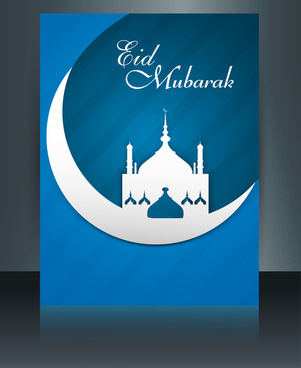 eid mubarak mosque template brochure festival for beautiful reflection colorful card vector