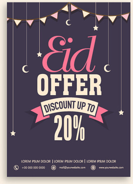 eid special offer sale flyer vector set