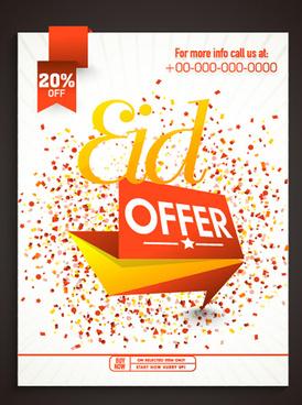 eid special offer sale flyer vector set