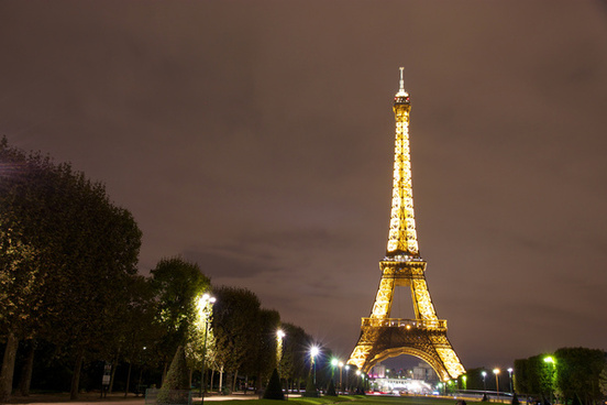 eiffel tower at night from champ de mars