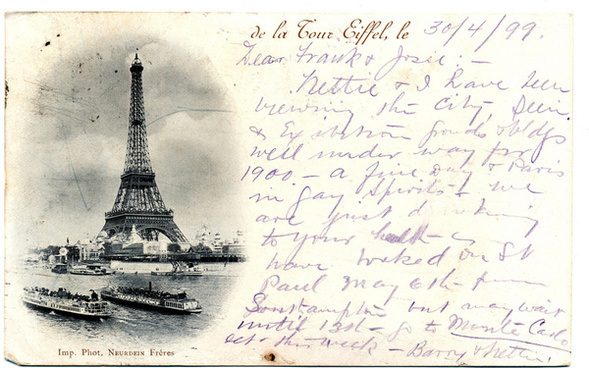 eiffeltower on 1899 postcard