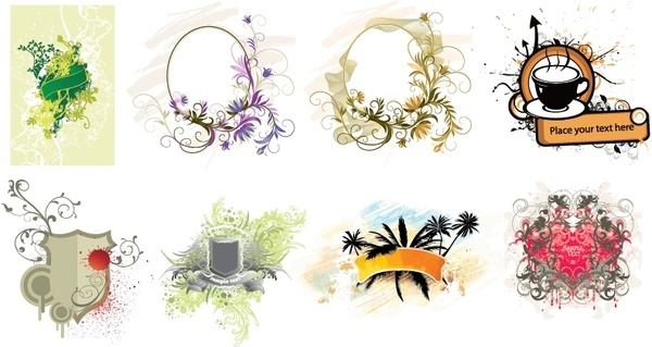 banner decorative templates classical flowers grunge decor