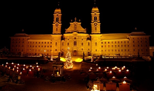 einsiedeln monastery christmas market night