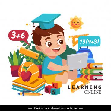 elearning background cute boy educational tools cartoon design
