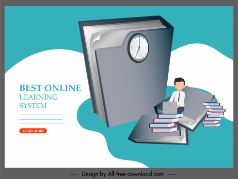 elearning banner huge 3d book student sketch