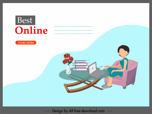 elearning banner relaxing woman cartoon sketch
