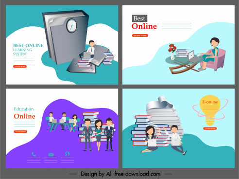 elearning poster templates learners book stacks decor