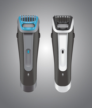 electric shaver sets realistic vector