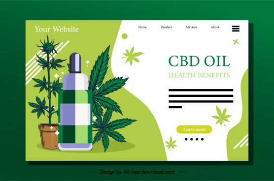 electric tobacco homepage template cannabis leaves sketch