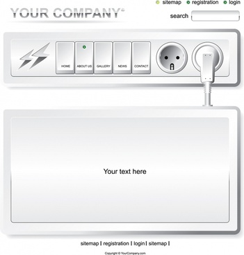 webpage template modern electrical buttons plug sketch