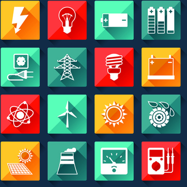 electricity icons creative vector