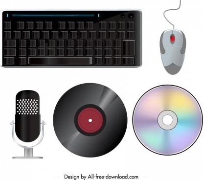 electronic devices icons keyboard mouse microphone disk sketch