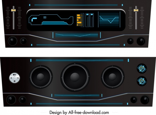 electronic music player icons modern black design