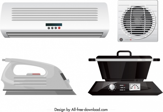 electronic utensils icons airconditioner fan iron cook sketch