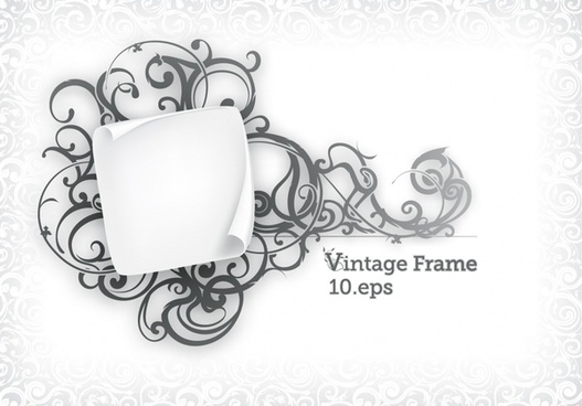 vintage frame template classical seamless curves curled paper