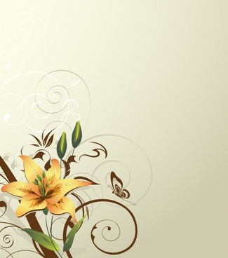 flora background elegant classical colored sketch