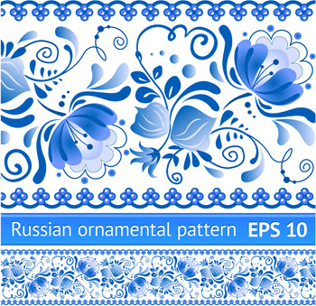 elegant blue floral pattern background vector