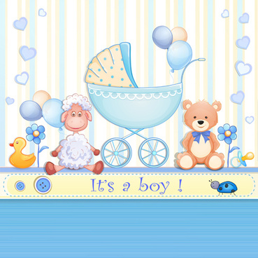 elegant boy baby cards cute design vector
