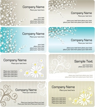 business card templates spring florals decor bright classic